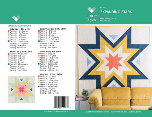 Expanding Stars Quilt Paper Pattern from Quilty Love - brewstitched.com