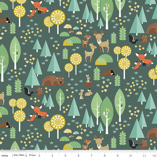 Woodland Flannel Main Green - Priced by the Half Yard - Expected March 2021 - brewstitched.com