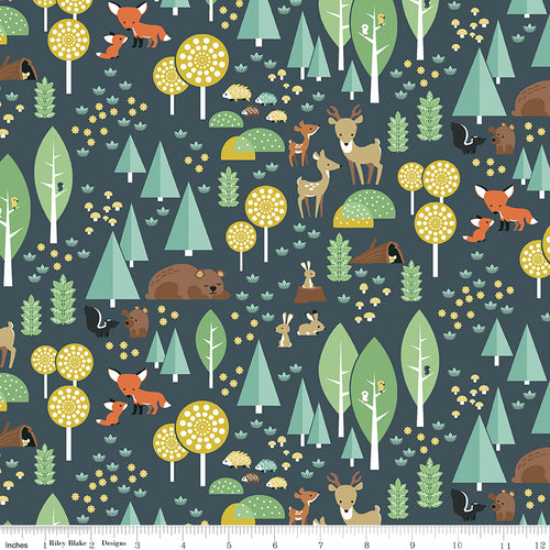 Woodland Flannel Main Navy - Priced by the Half Yard - Expected March 2021 - brewstitched.com