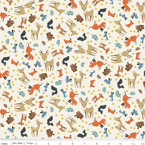 Woodland Flannel Animal Toss Parchment - Priced by the Half Yard - Expected March 2021 - brewstitched.com