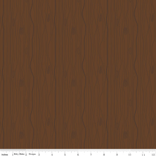 Woodland Flannel Wood Grain Brown - Priced by the Half Yard - Expected March 2021 - brewstitched.com