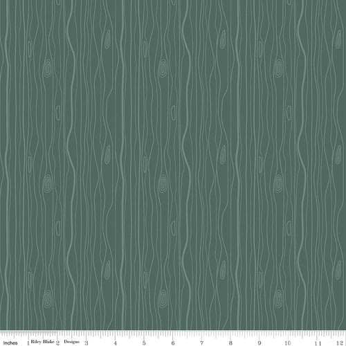 Woodland Flannel Wood Grain Green - Priced by the Half Yard - Expected March 2021 - brewstitched.com