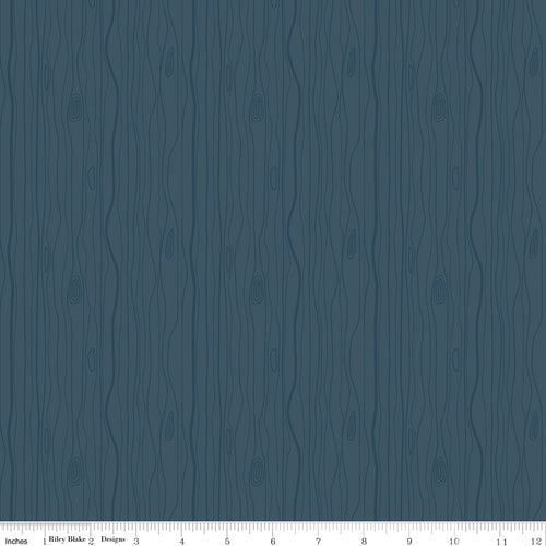 Woodland Flannel Wood Grain Navy - Priced by the Half Yard - Expected March 2021 - brewstitched.com