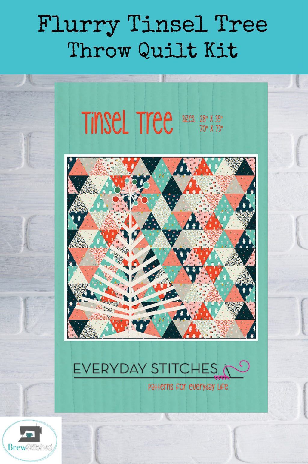 Flurry Tinsel Tree Throw or Wall Hanging Quilt Kit - brewstitched.com