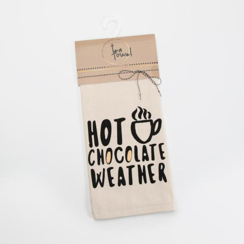 Hot Chocolate Weather cotton Chill Tea Towel - brewstitched.com