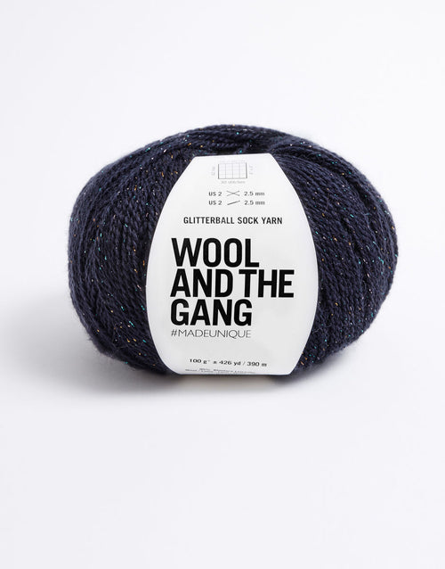 Wool and the Gang Glitterball Sock Yarn in Night Fever Navy - brewstitched.com