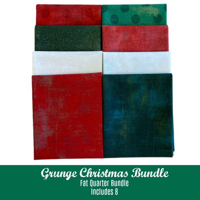 Grunge Christmas Fat Quarter Bundle - Includes 8 - brewstitched.com
