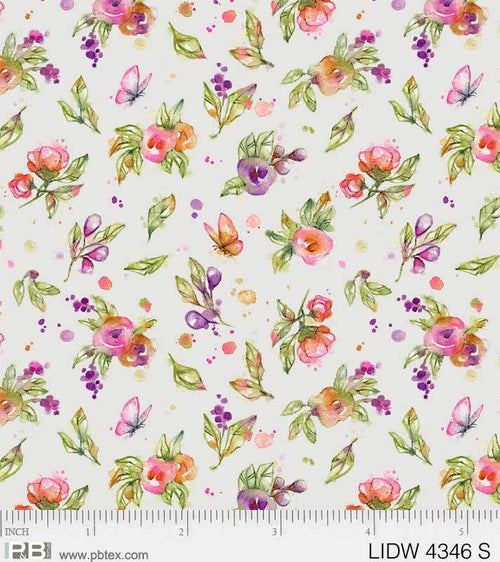 Little Darlings Woodland Gray Floral - Priced by the Half Yard - brewstitched.com