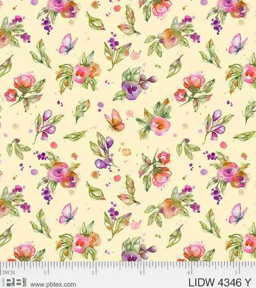Little Darlings Woodland Yellow Floral - Priced by the Half Yard - brewstitched.com
