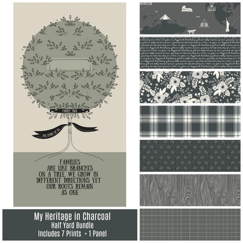 My Heritage Charcoal Half Yard Bundle - brewstitched.com
