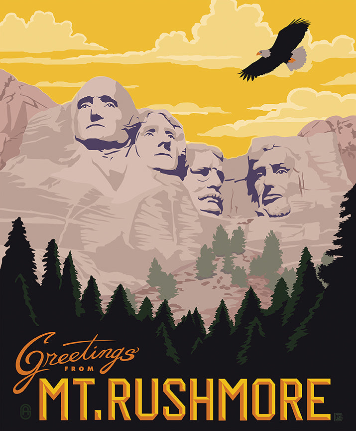 Destinations 2 Mt. Rushmore Poster Fabric Panel - Priced by the Panel