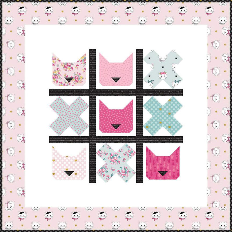 Tic Tac Cat Quilt Paper Pattern by Melissa Mortenson - brewstitched.com