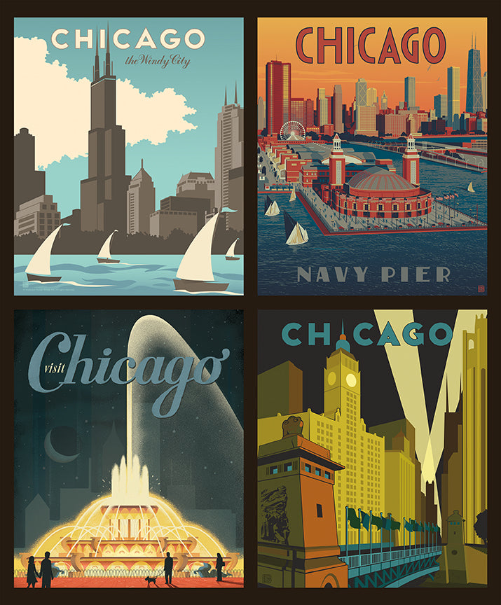 Destinations 2 Chicago Pillow Panel - Priced by the Panel