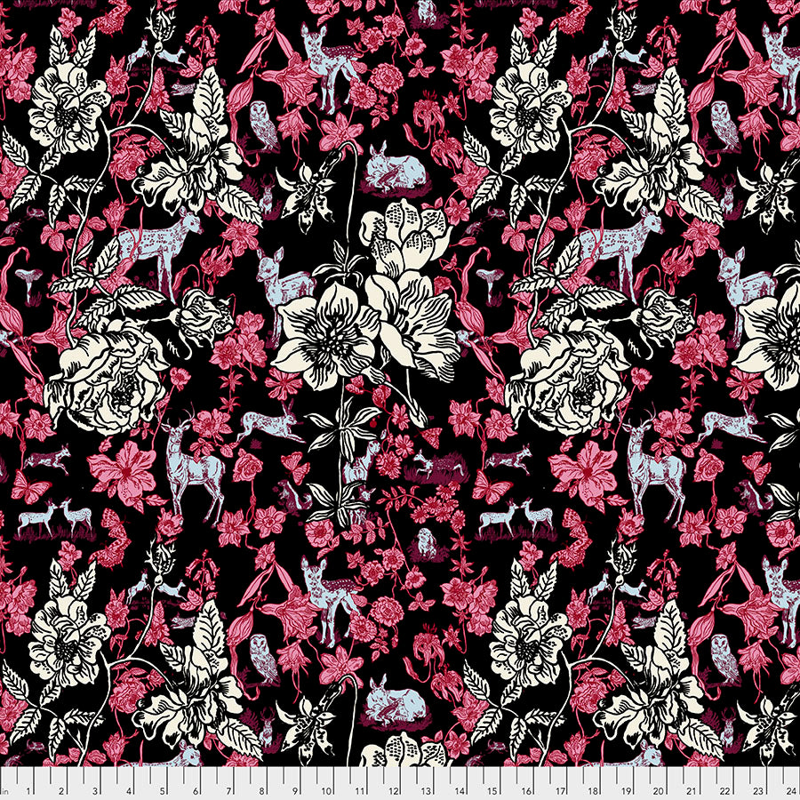 Woodland Walk Fawn in Flowers Black - Priced by the half yard - Coming Jan 2020 - brewstitched.com