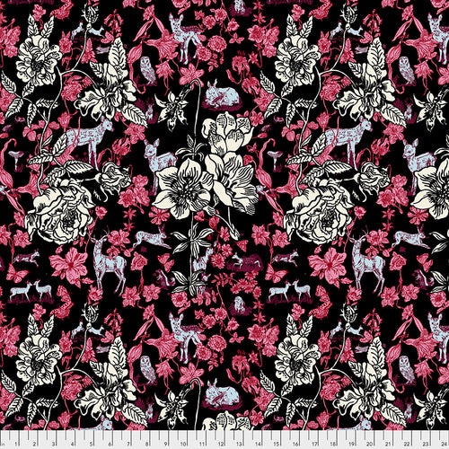 Woodland Walk Fawn in Flowers Black - Priced by the half yard - Expected Jan 2021 - brewstitched.com