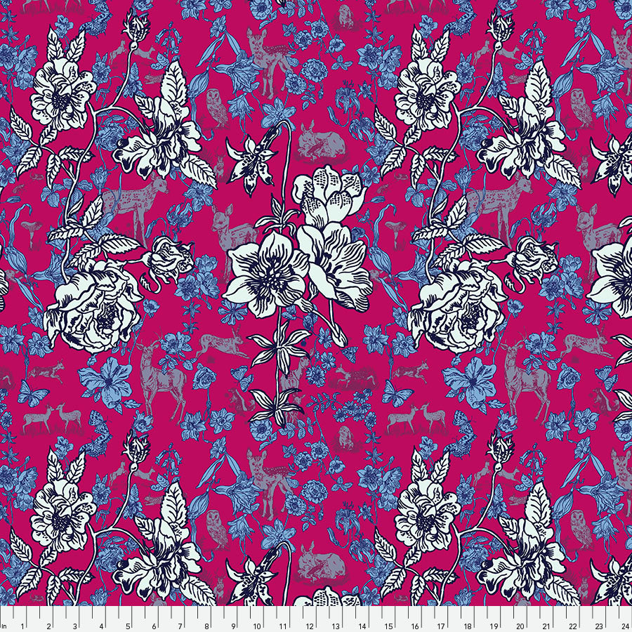 Woodland Walk Fawn in Flowers Pink - Priced by the half yard - Coming Jan 2020 - brewstitched.com