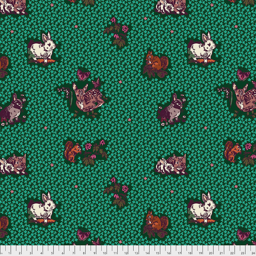 Woodland Walk Lucky Animals Mint - Priced by the half yard - Coming Jan 2020 - brewstitched.com