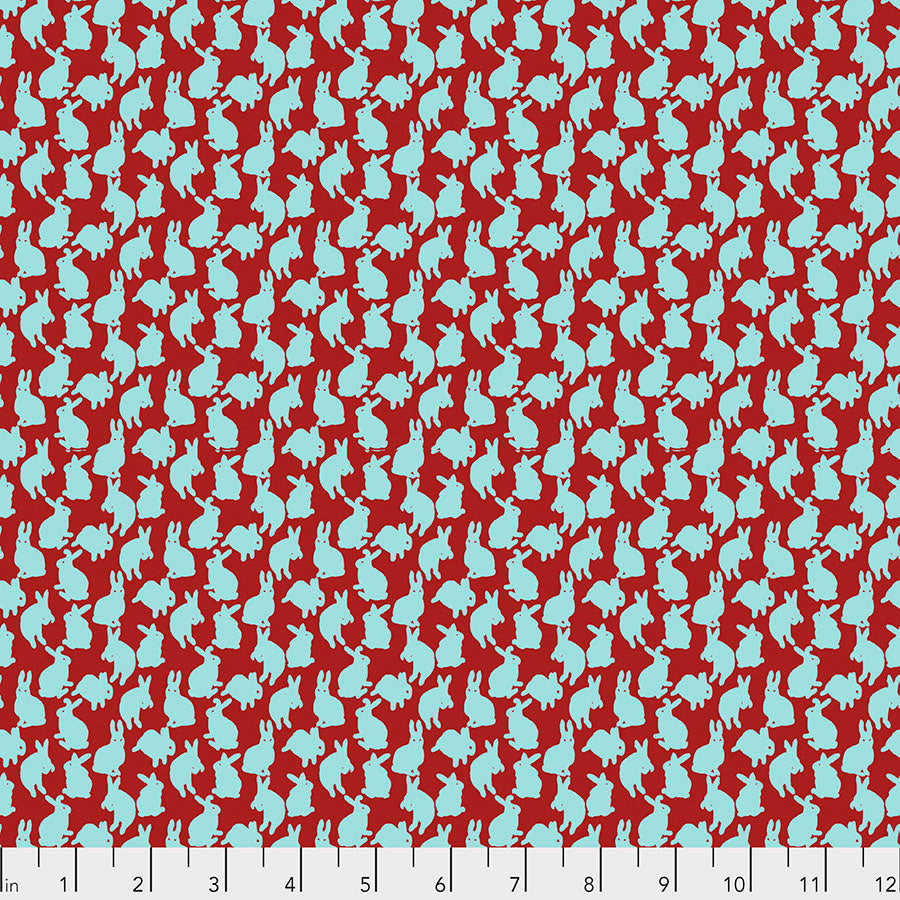 Woodland Walk Mini Rabbits Apple - Priced by the half yard - Coming Jan 2020 - brewstitched.com