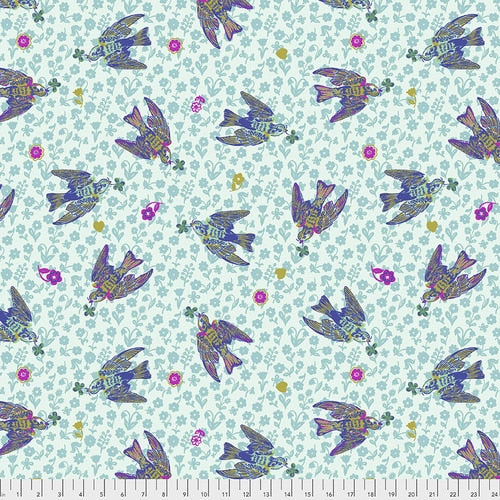 Woodland Walk The Swallows Azure - Priced by the half yard - Coming Jan 2020 - brewstitched.com