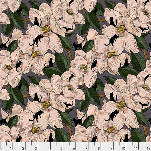 Cat Tales Magnolia Garden Natural - Priced by the half yard - brewstitched.com