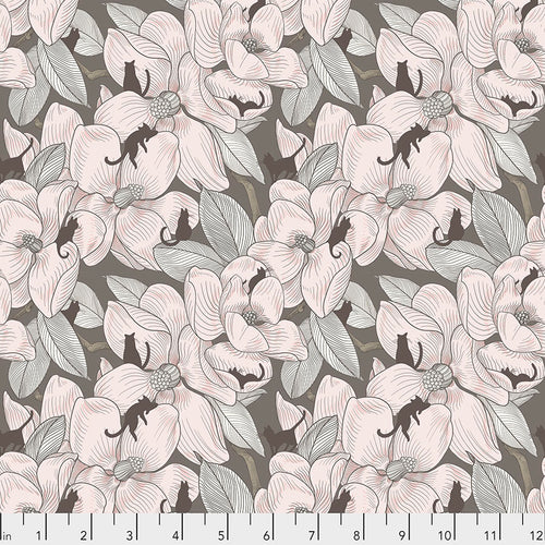 Cat Tales Magnolia Garden Sepia - Priced by the half yard - brewstitched.com