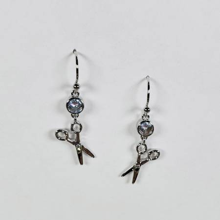Scissor Drop Silver Earrings - brewstitched.com