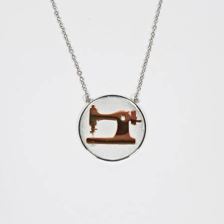 Sewing Machine Coin Necklace Silver & Rose Gold - brewstitched.com