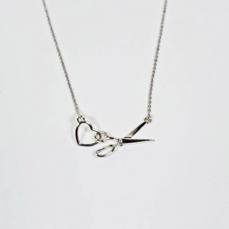 Scissor & Heart Charm Necklace Silver - brewstitched.com