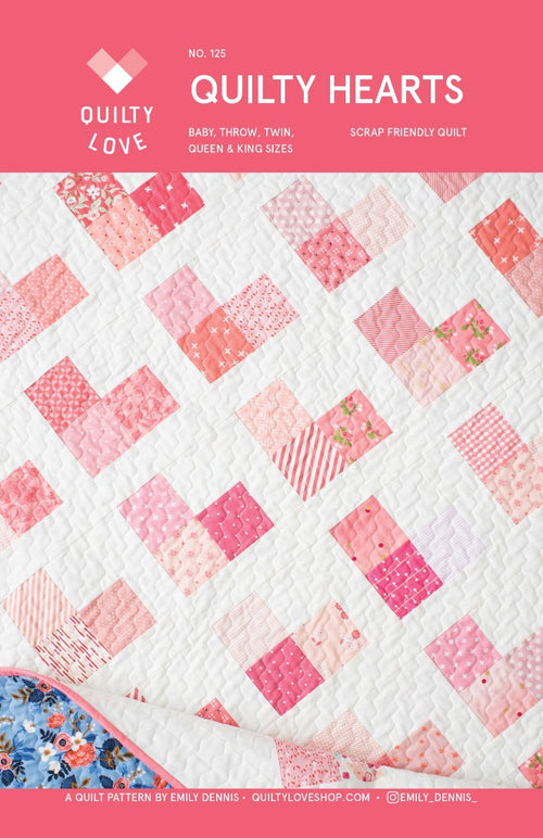Quilty Hearts Quilt Paper Pattern by Quilty Love - brewstitched.com