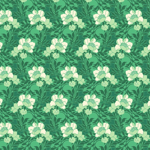 True Kisses Flowers Green RAYON - Priced by the Half Yard - brewstitched.com