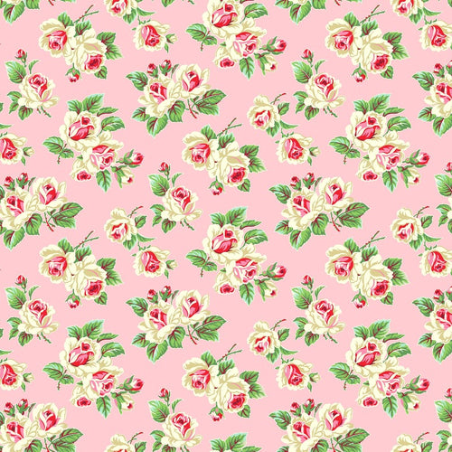 True Kisses Roses Pink RAYON - Priced by the Half Yard - brewstitched.com