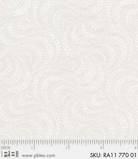 Ramblings Basic White on Cream Swirls - Priced by the Half Yard - brewstitched.com