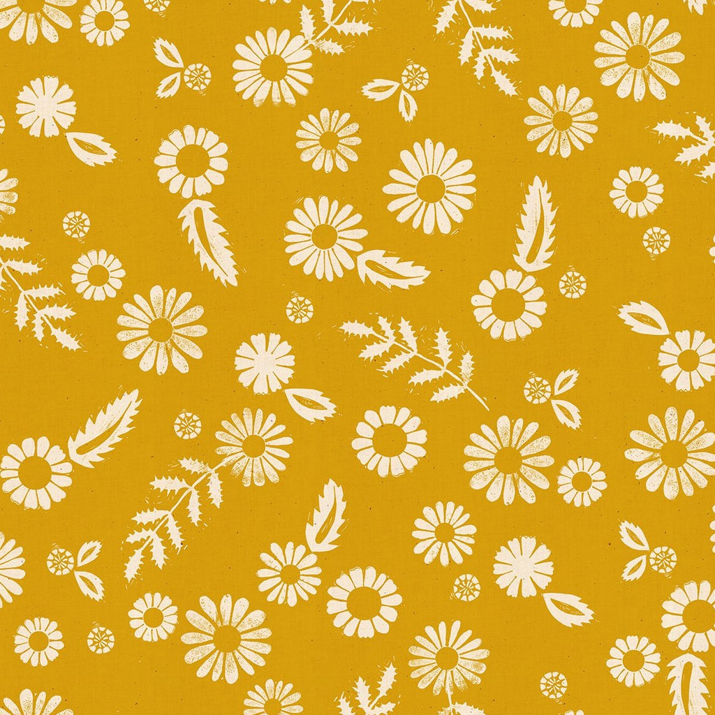 Golden Hour Daisy Goldenrod - Priced by the half yard - Coming Nov 2020 - brewstitched.com
