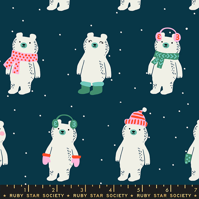 Flurry Snow Bears Peacock - Priced by the Half Yard - brewstitched.com