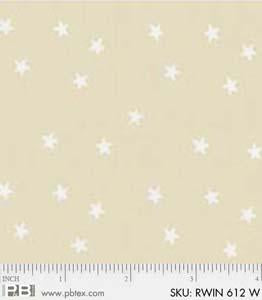Ramblings Basic White on Cream Stars - Priced by the Half Yard - brewstitched.com