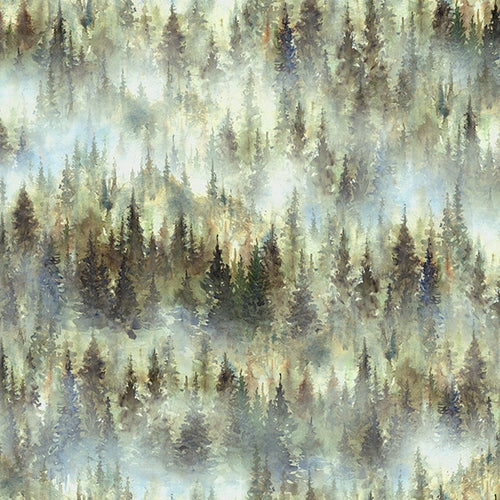 Woodland Whispers Trees in Forest - Priced by the Half Yard - brewstitched.com