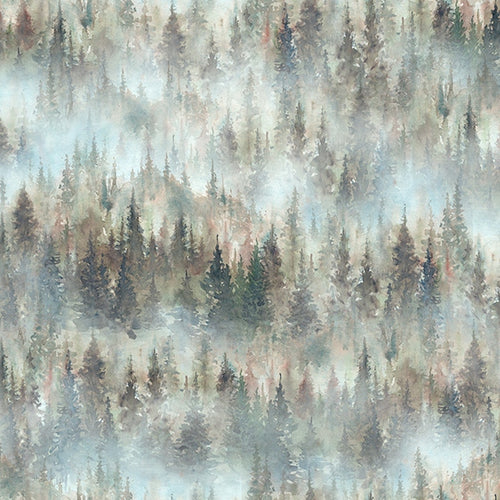 Woodland Whispers Trees in Mist - Priced by the Half Yard - brewstitched.com