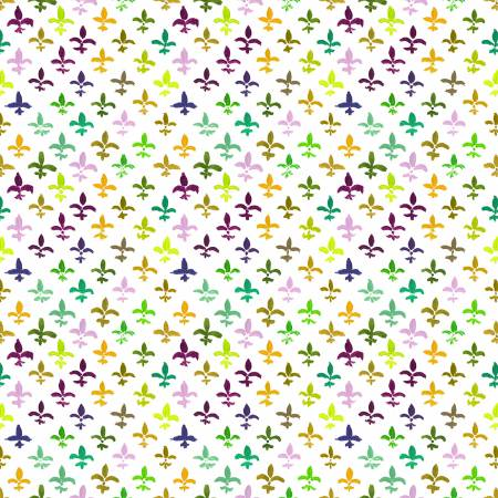 Mardi Gras Fleur De Lis - Priced by the half yard - Coming Nov 2020 - brewstitched.com