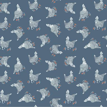Poppy Prairie Teal Chickens - Priced by the Half Yard - Coming Oct 2020 - brewstitched.com