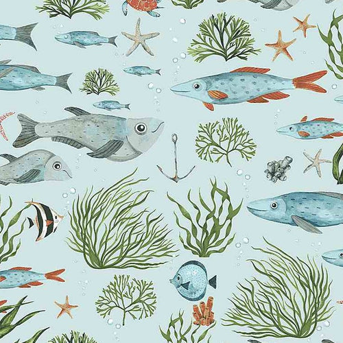 Hook, Line & Sinker Nice to Sea You - Priced by the Half Yard - Expected Feb 2021 - brewstitched.com