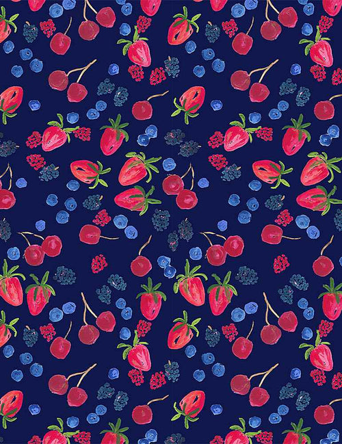American Summer Berry Picking - Priced by the Half Yard - brewstitched.com