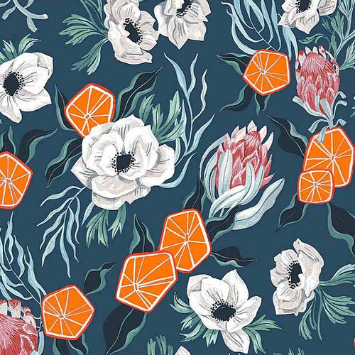 Frosty Forage Floral with Oranges - Priced by the Half Yard - Expected May 2021 - brewstitched.com