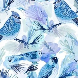 December to Remember Bluebirds - Priced by the Half Yard - brewstitched.com
