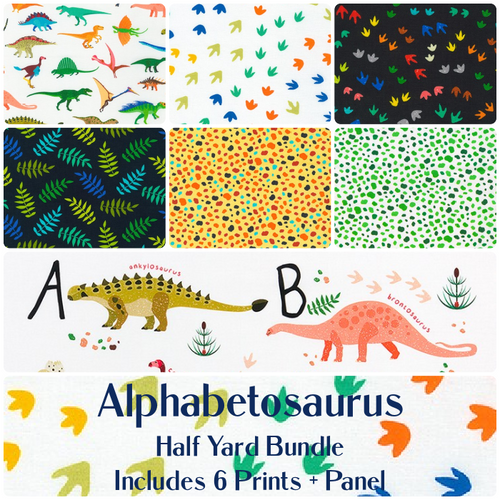 Alphabetosaurus Half Yard Bundle - Expected Sept 2021 - brewstitched.com