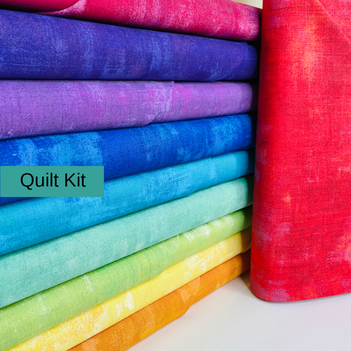 Barns and Terraces Quilt Kit featuring Grunge Rainbow - brewstitched.com