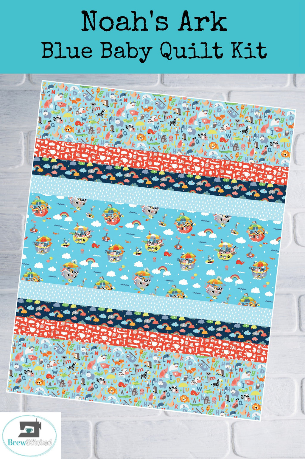 Noah's Ark Baby Quilt Kit in Blue - brewstitched.com