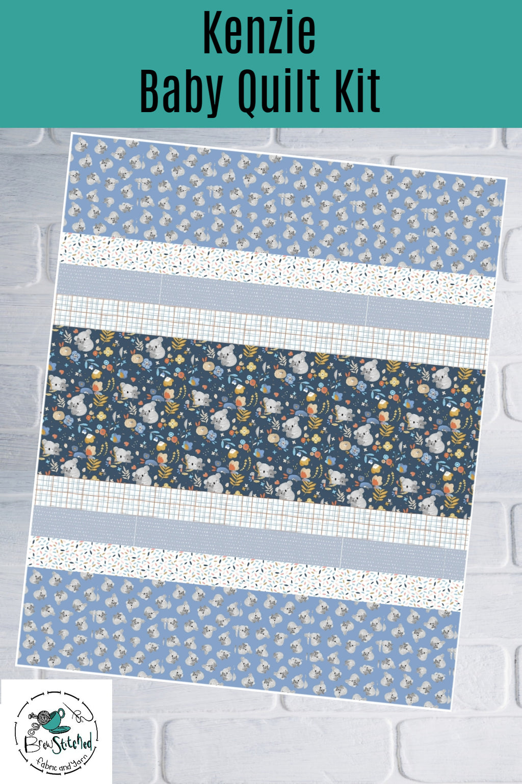 Kenzie Baby Quilt Kit in Blue - brewstitched.com