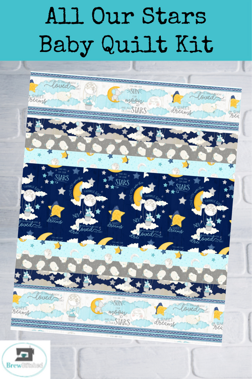 All Our Stars Baby Strip Quilt Kit Blue Opt 2 - brewstitched.com