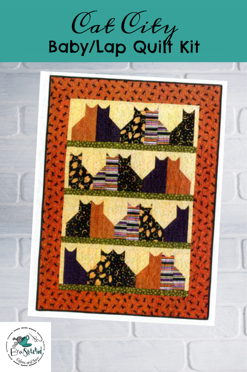 Cat City using Marcel Cats Quilt Kit - brewstitched.com