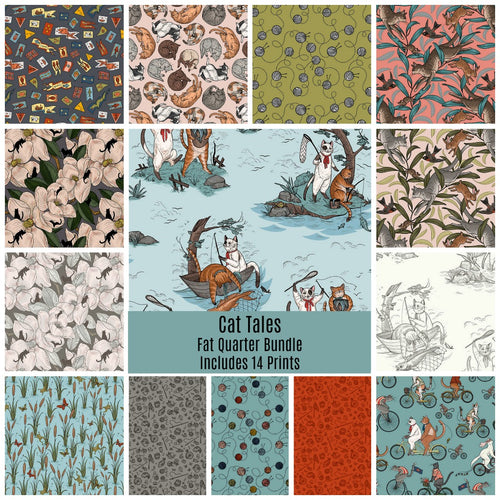 Cat Tales Fat Quarter Bundle - Includes 14 Prints - brewstitched.com